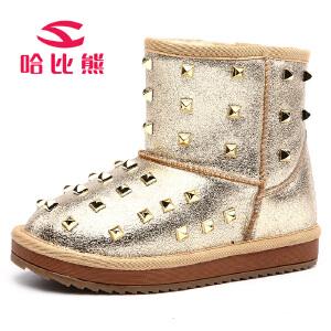 【79元两件包邮】哈比熊童鞋儿童新款冬季女童中小童时尚铆钉保暖棉靴雪地靴潮
