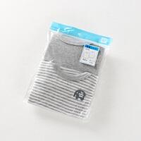 童装秋男童宝宝纯棉长袖打底衣秋衣薄款T恤睡衣灰色纯色条纹 2件包A小象长袖