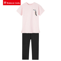 【到手价:224元】探路者童装 2020春夏新品户外女童针织弹力短袖套装QAXI84157