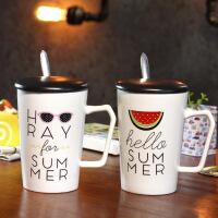 包邮 字母水果创意马克杯 卡通创意陶瓷杯 带盖带勺咖啡杯 早餐杯水杯