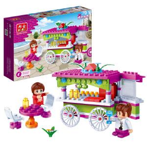【当当自营】邦宝小颗粒益智媚力都市拼插积木女孩玩具情景模拟零食车6118