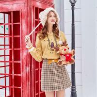 MG小象高腰格子半身裙女时尚复古短裙秋季新款修身显瘦a字裙子潮