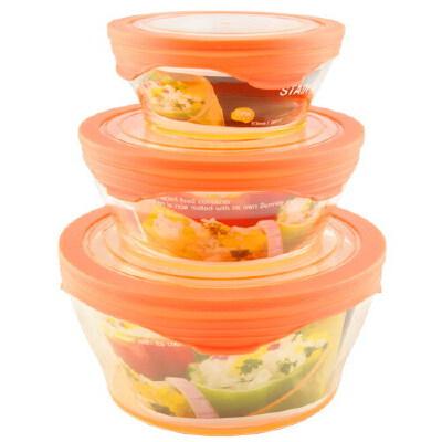 360°硅胶盖 鲜乐仕保鲜盒3件套(6P)SK-0602 热情橙