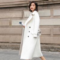 毛呢外套涤纶双排扣2017年冬季长袖长款时尚修身气质简约宽松