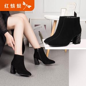 红蜻蜓女鞋2017冬季新款时尚绒面圆头舒适粗跟短靴简约纯色女靴子