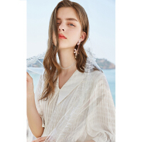 秋水伊人白衬衫2019夏装新款女装纯色衬衣撞色系带短袖雪纺衫女