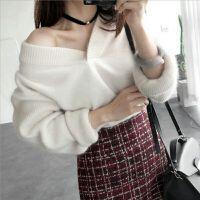 卡茗语秋冬新款女貂毛毛衣套装裙子两件套装韩版气质时尚针织衫套裙
