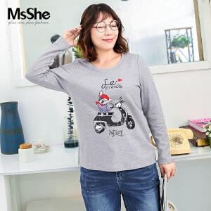 MsShe加大码女装2017新款冬装磨毛弹力棉印花图案圆领t恤M1740725