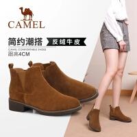 骆驼女鞋2018新款马丁靴冬季女靴子粗跟英伦短靴秋单靴切尔西靴女