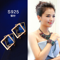 S925防过敏纯银耳环女百搭时尚简约个性耳钉气质耳饰品女
