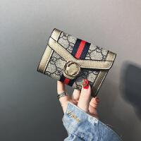 ?新款欧美复古简约印花小钱夹女短款韩版搭扣软皮夹迷你零钱包?