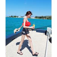 分体泳衣女性感小胸聚拢时尚韩版红色清新保守遮肚显瘦裙式平角游泳衣