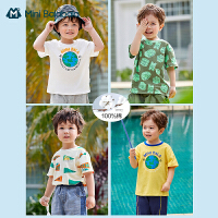 Mini Balabala儿童T恤2021夏季新款纯棉柔软环保地球图案男童短袖