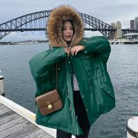大毛领棉衣女中长款学生2018冬装新款韩版oversize工装外套潮