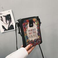 迷你小包包女2018新款个性时尚涂鸦字母包单肩斜挎包手机包