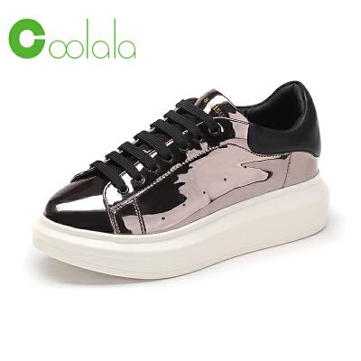 红蜻蜓coolala女鞋 新品运动休闲鞋舒适板鞋厚底系带学院风女单鞋