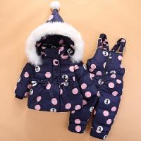宝宝羽绒服套装装外套新款两件套女童1-2-3岁儿童羽绒服套装 深蓝色 现货