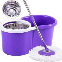紫色款金属篮双驱动如意金箍拖把 旋转好神拖 两个拖把头