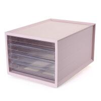 办公室桌面收纳盒多层文件柜置物架创意抽屉式文具储物箱 北欧粉4层抽屉