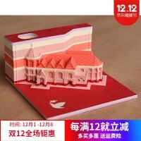 创意立体便签纸 新款网红立体建筑清水寺3D纸雕便利贴日本艺术便签纸生日礼物