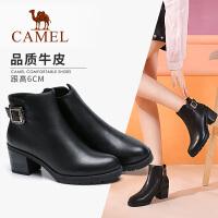 Camel骆驼秋季新款短靴头层牛皮通勤高跟女鞋保暖加绒切尔西女靴子