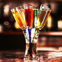 香槟杯创意鸡尾酒杯彩色玻璃香槟杯酒具套装酒吧用品气泡沙滩杯