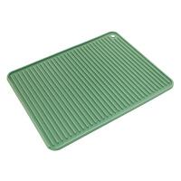 君别防滑硅胶沥水垫厨房隔热垫餐桌垫防水茶杯垫锅碗盘垫长方形滤 升级款A 绿色