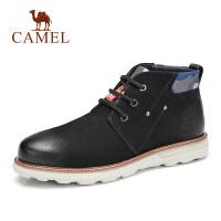 camel骆驼男鞋 2018秋季新款时尚运动休闲鞋皮质高帮靴子街头马丁男鞋