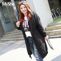 MsShe加大码女装2017新款冬装针织加绒加厚连帽外套卫衣C1630145