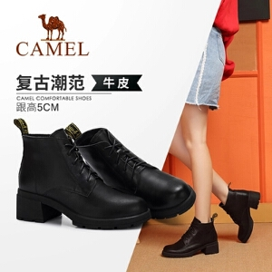 Camel/骆驼2018冬季新款 时尚摩登意式复古质感舒适粗跟系带女靴