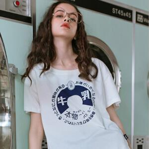 PASS日系潮牌2018夏装新款烧字印花白色短袖t恤女宽松