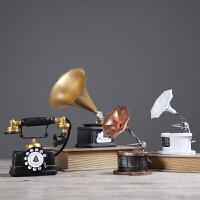 复古工业风铁艺留声机电话机摆件 客厅服装店装饰品摆设工艺品