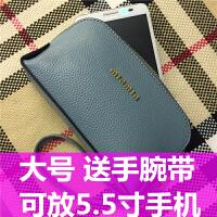 手机包女零钱包女2018新韩版迷你手拿小钱包钥匙包硬币包女 蓝色大号有手腕带