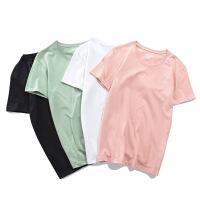 短袖T恤男【四件装】夏季新款纯棉短袖男韩版宽松圆领纯色打底衫青少年水蓝
