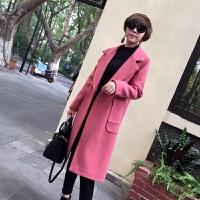毛呢大衣女2018新款韩版简约时尚大口袋双排扣羊绒外套中长款 M 试穿码