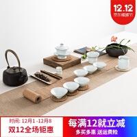 景德镇茶具 青瓷功夫茶具套装陶瓷茶壶茶杯盖碗套装家用礼盒装