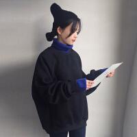 秋冬女装韩版宽松高领毛线领假两件卫衣套头无帽长袖外套学生上衣