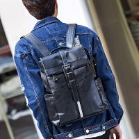 韩版双肩包男商务英伦小背包休闲时尚潮流男士包包皮质公文电脑包 黑色