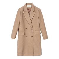 【3折到手价:198元】爱客2018新款流行大衣女冬季韩版双排扣呢子中长款赫本风毛呢外套