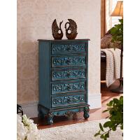 美式五斗柜实木整装手绘复古客厅储物柜收纳柜卧室欧式装饰柜子 蓝色 整装