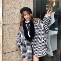 2018流行呢子大衣女秋冬韩版中长款宽松加厚千鸟格长袖毛呢外套女 黑色 均码