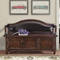 鞋凳 实木美式实木换鞋凳式鞋柜家用储物收纳凳 欧式进门口穿鞋登可坐