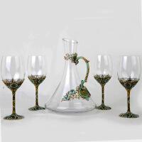 珐琅彩创意无铅水晶红酒杯大号高脚杯葡萄酒杯子新婚礼物套装