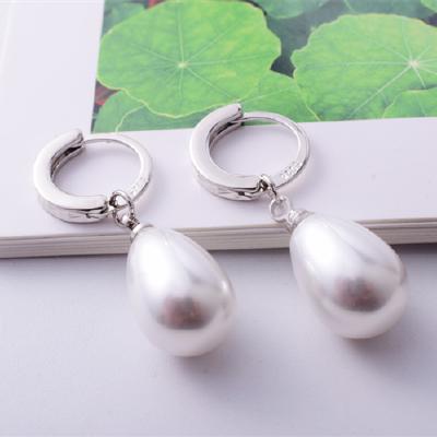 S925银珍珠耳坠韩版气质简约大耳圈银耳环