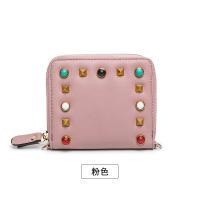 新款铆钉钱包女短款拉链2018新款韩版彩色宝石零钱包迷你斜挎小包