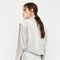 DAZZLE地素 18春专柜新款 开叉袖子丝绒烂花面料外套 2F1F4076D
