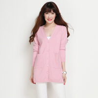 春季新款女装中长款羊绒开衫宽松显瘦外搭毛衣长袖韩版纯色薄外套