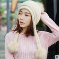 兔毛帽子女潮毛线帽青年韩版时尚保暖潮新款甜美可爱
