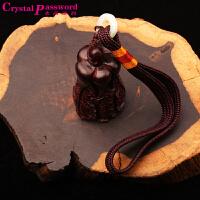 水晶密码CrystalPassWord 文玩精雕小叶紫檀百财手把件TGMY1Q095