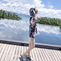 游泳衣女遮肚显瘦时尚新款性感比基尼三件套聚拢泳装平角温泉泳衣